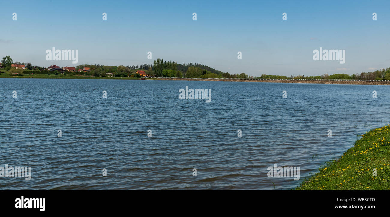 Olesna water reservoir near Frydek-Mistek city in Czech republic during beautiful springtime day Stock Photo
