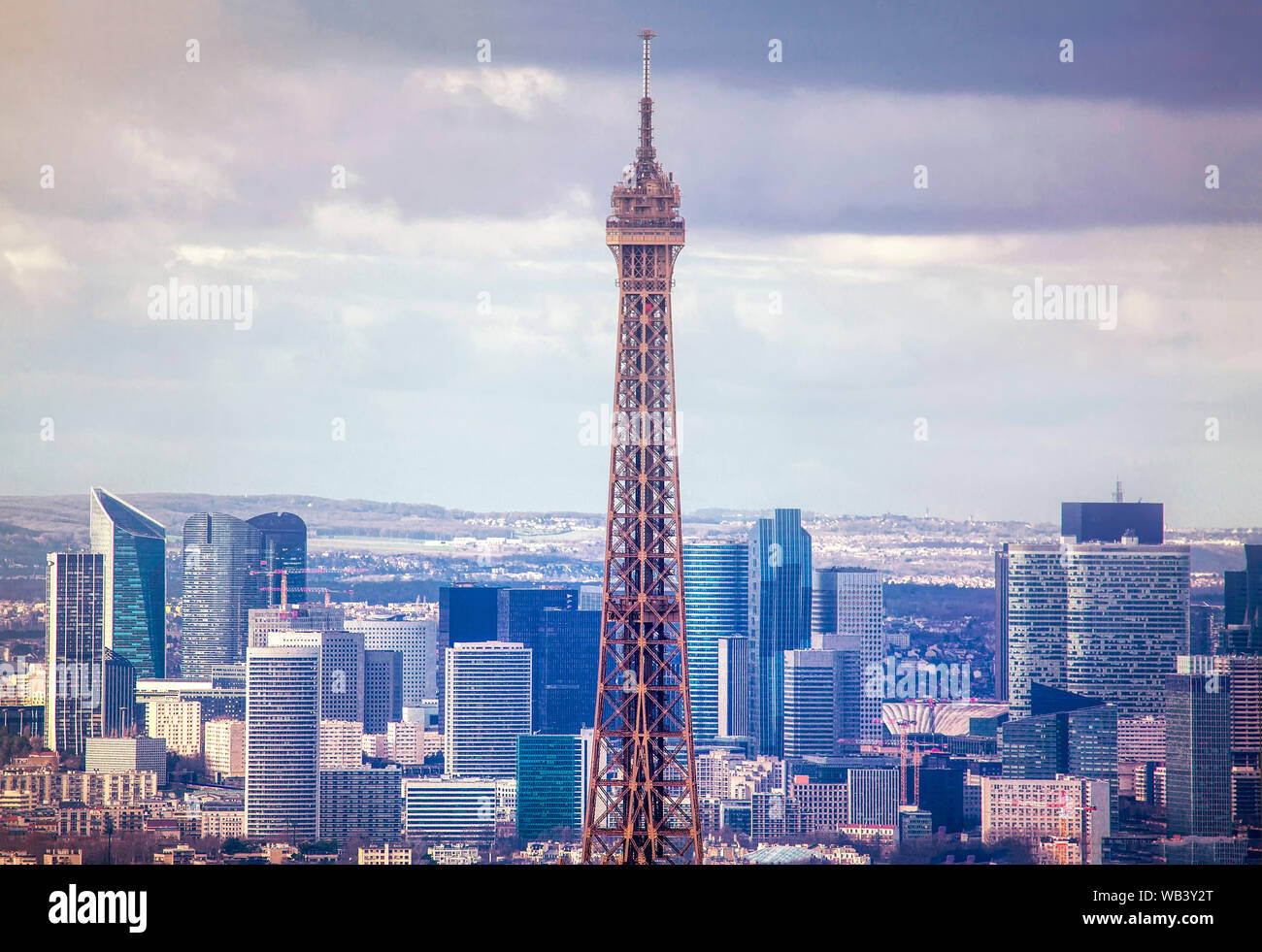 Paris aerial with Eiffel Tower and skyscrapers Stock Photo