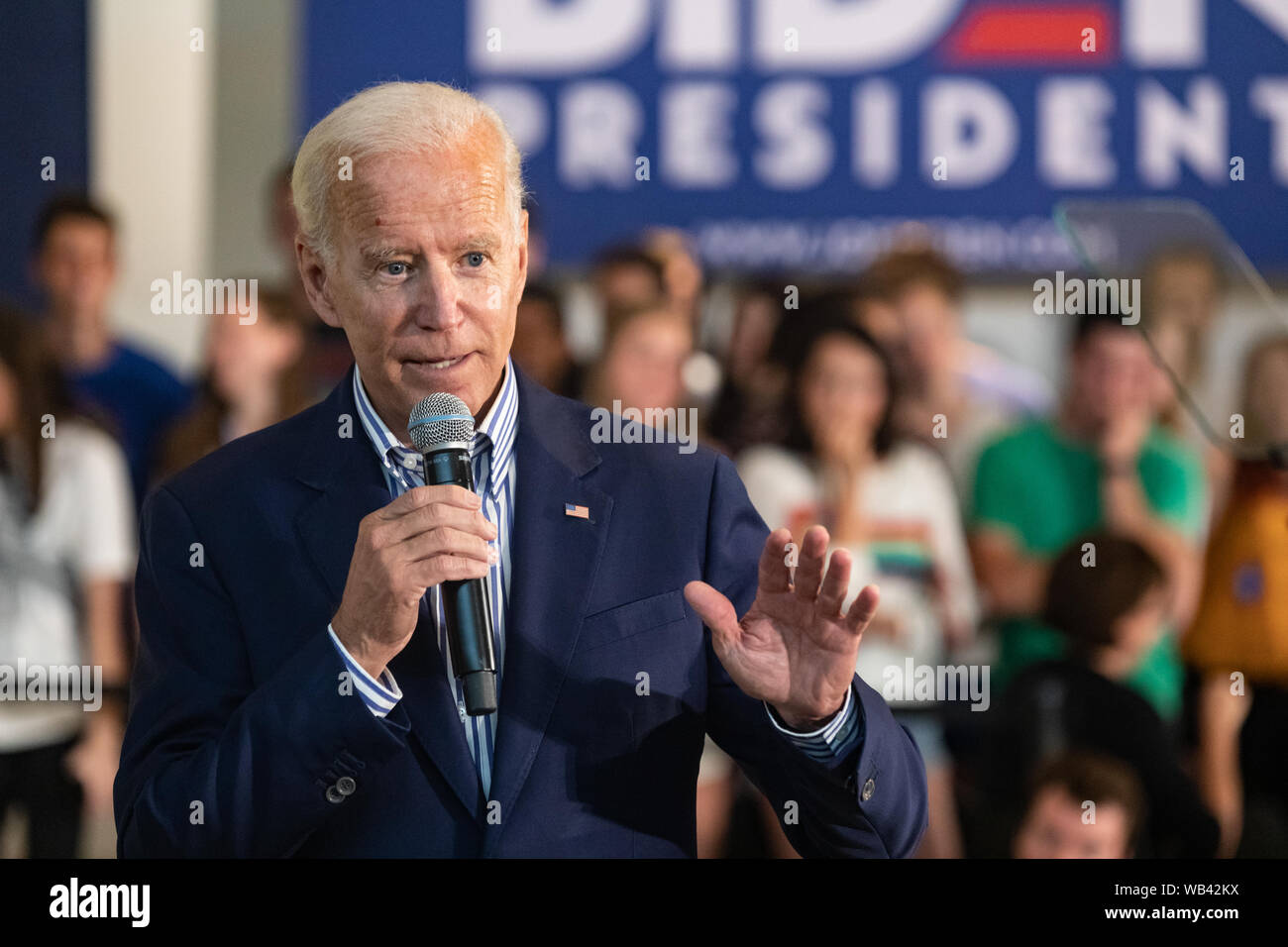 New Hampshire, USA. August 23, 2019, Darthmouth College, Hanover, New Hampshire, USA: Democratic presidential candidate former Vice President Joe Biden campaigning at Dartmouth College. Credit: Keiko Hiromi/AFLO/Alamy Live News Stock Photo