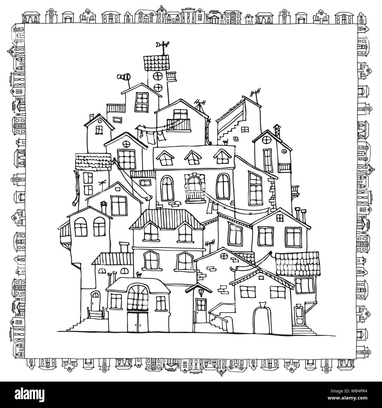 Hand drawn doodle houses in black and white. Adult coloring ...