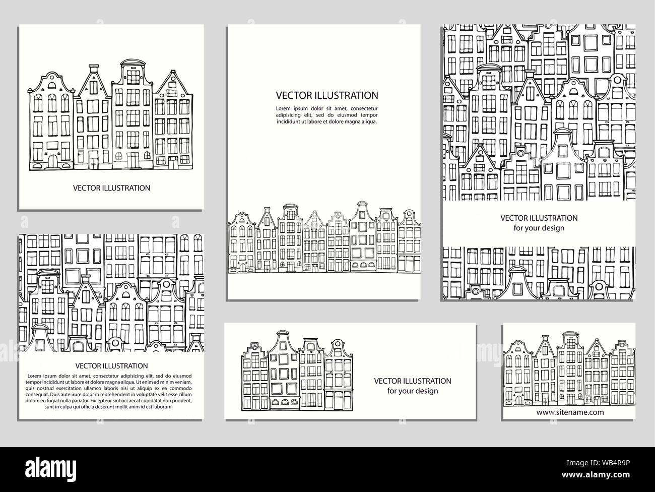 Hand Drawn House Card Template Collection Drawing Cards Templates Set Design Elements Doodle Scandinavian Amsterdam Houses Vector Illustration Dutch Home Stock Vector Image Art Alamy
