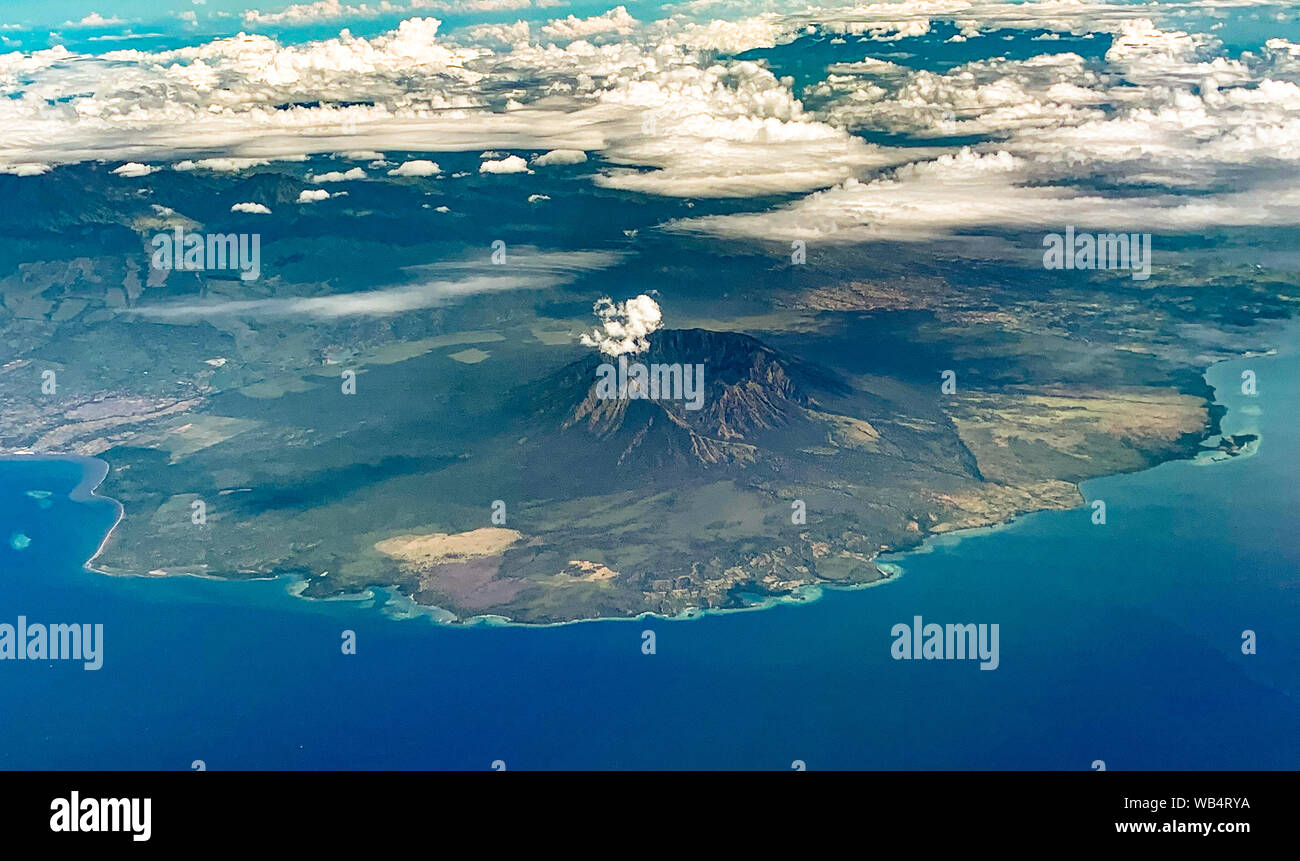 Volcano views from airplane, in Bali Indonesia Stock Photo