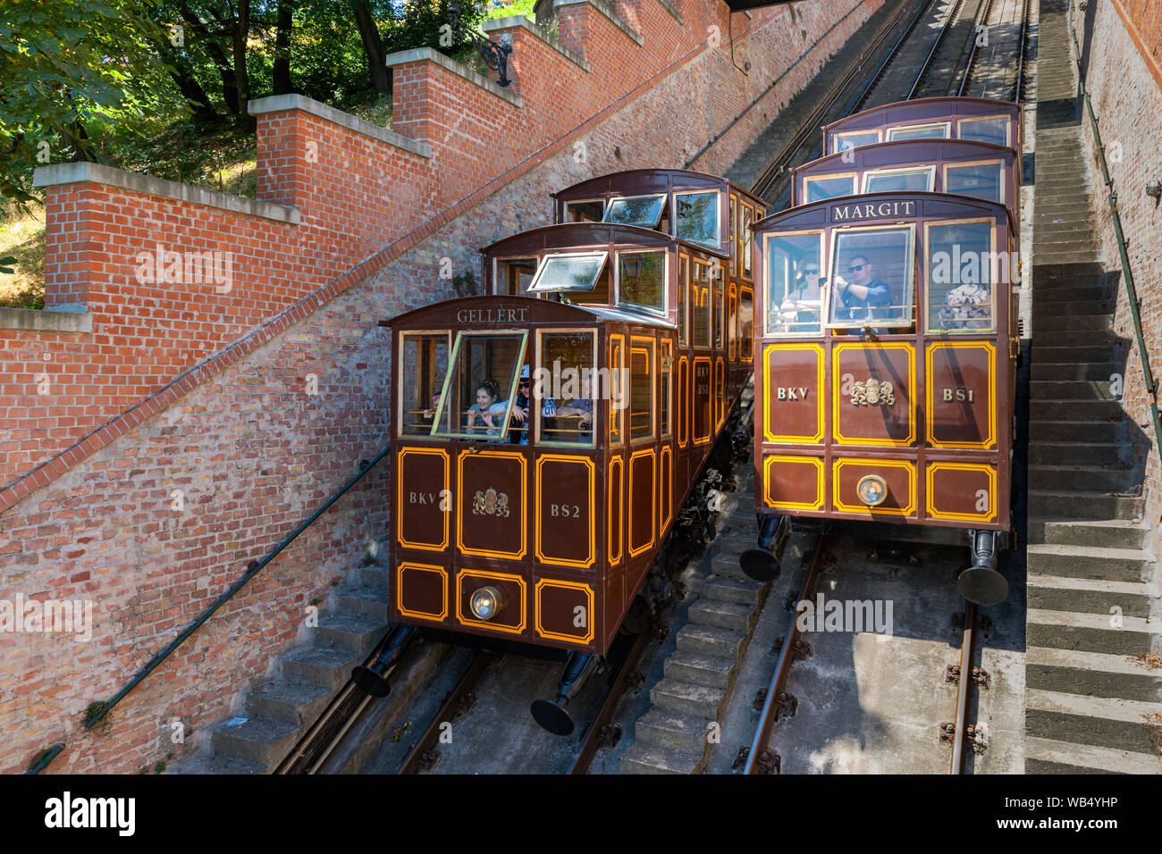 Funicular train with tourists going to Buda Castle in Budapest Stock Photo