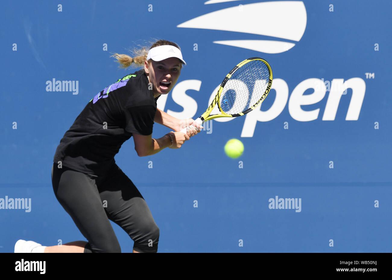 New York, USA. 24th Aug, 2019. Flushing Meadows New York US Open Tennis Caroline Wozniacki (DEN) practices on Louis Armstong Court Credit: Roger Parker/Alamy Live News Stock Photo