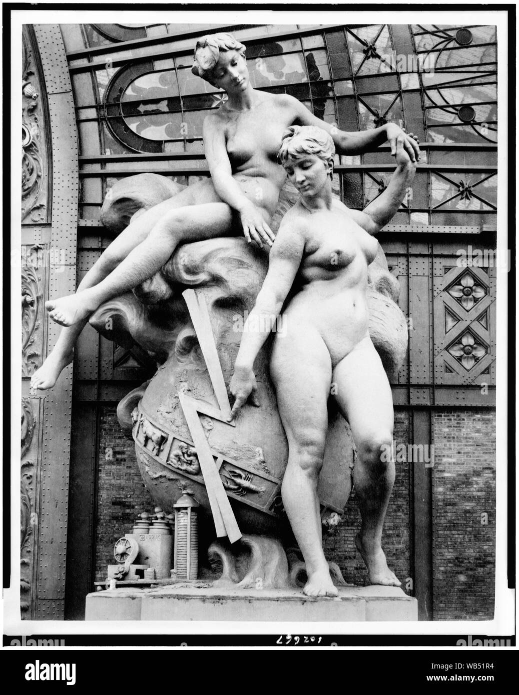 Electricity sculpture by Louis-Ernest Barrias located at the entrance to the Gallery of Machines, Paris Exposition, 1889 Abstract/medium: 1 photographic print: albumen. Stock Photo