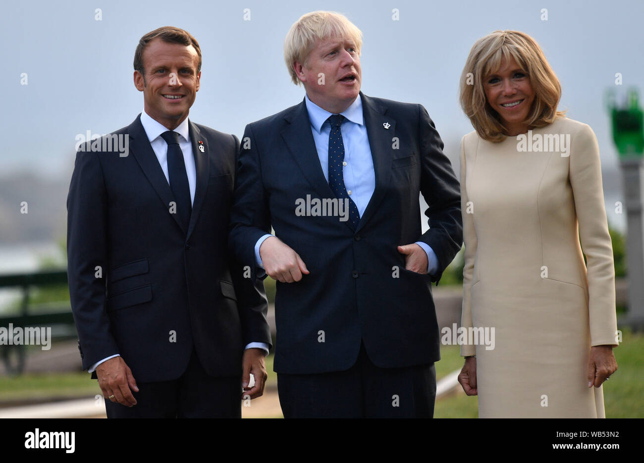 French President Emmanuel Macron And His Wife Brigitte Trogneux With Prime Minister Boris Johnson Centre At The Official Welcome During The G7 Summit In Biarritz France Stock Photo Alamy