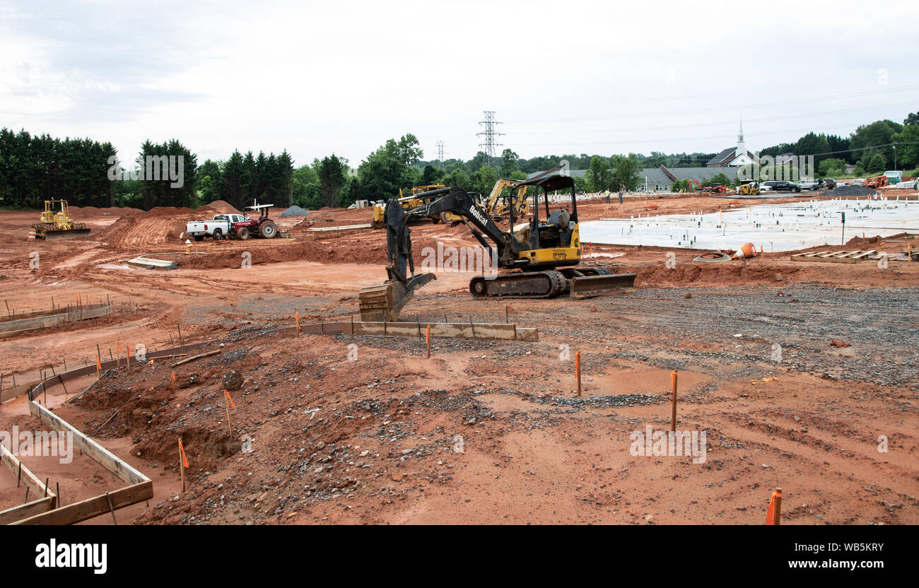 HICKORY, NC, USA-21 MAY 2019: Work begins on new apartment project. Stock Photo
