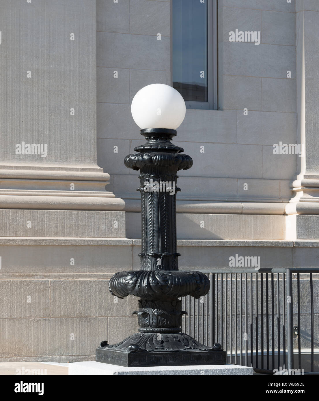 Exterior light fixture at the Ed Edmondson Courthouse, also known as the U.S. Post Office and Courthouse, occupies an entire block between West Broadway, West Okmulgee Avenues and Fifth Street, Muskogee, Oklahoma Stock Photo