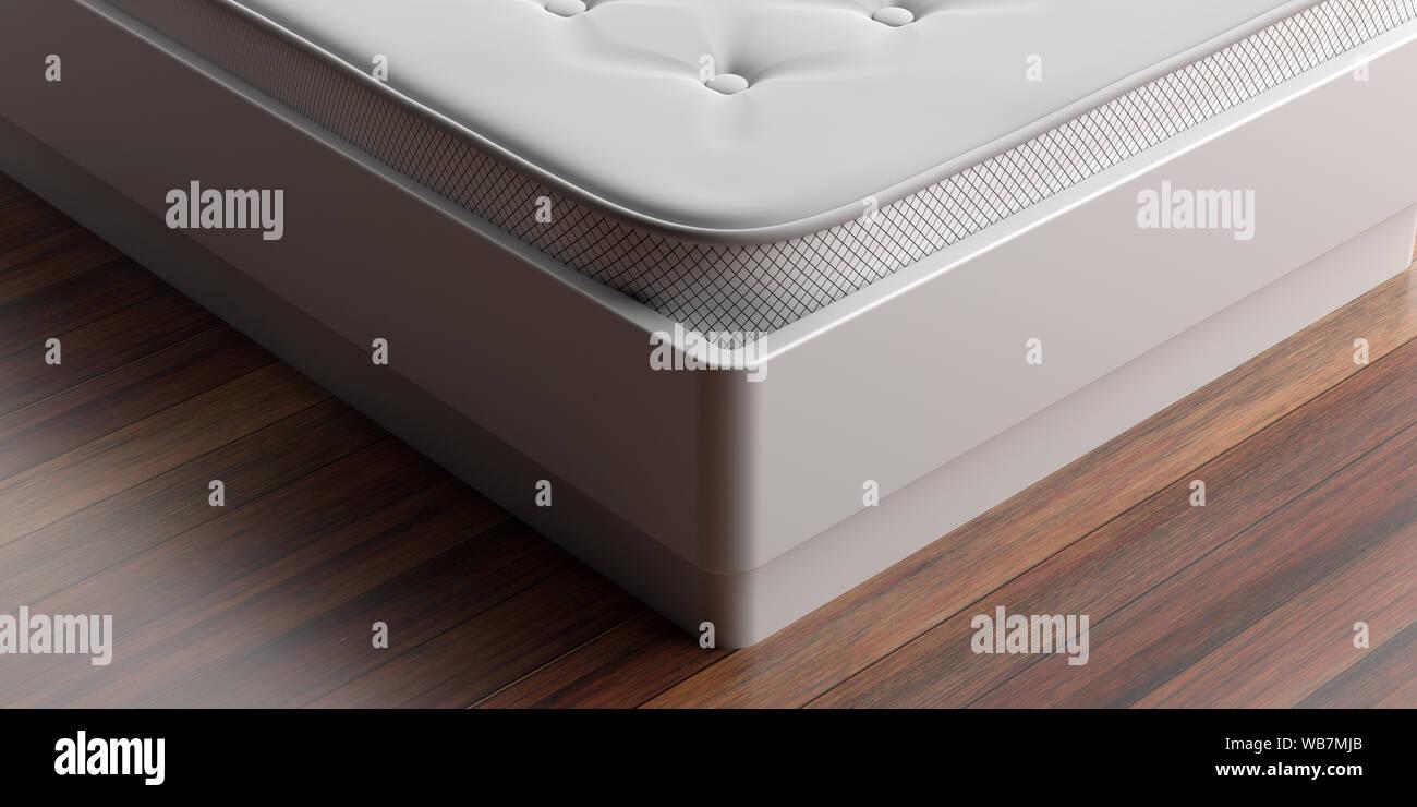 Bed Mattress Closeup View Mattress On A White Bed Wood Parquet
