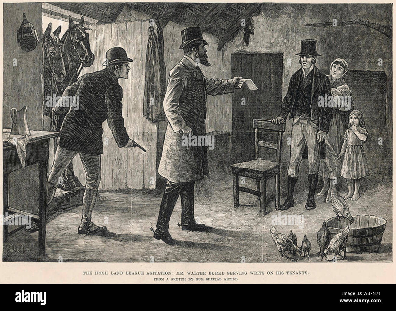 IRISH NATIONAL LAND LEAGUE A  landowner serves an eviction notice on a tenant accused of helping the INLL about 1880. Note the revolvers. Stock Photo