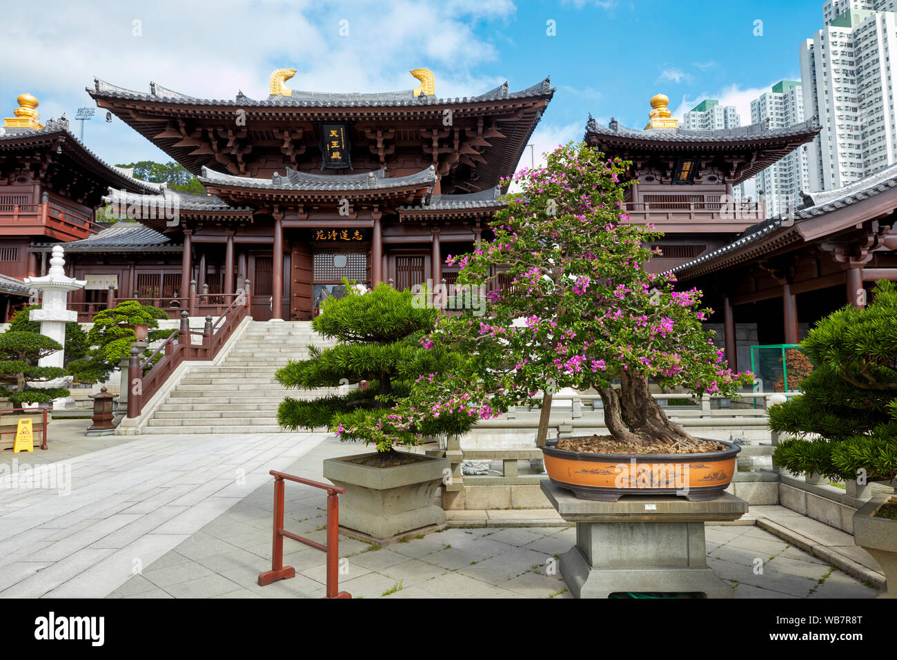 Chi Lin Nunnery, large Buddhist temple complex. Diamond Hill, Kowloon, Hong Kong, China. Stock Photo