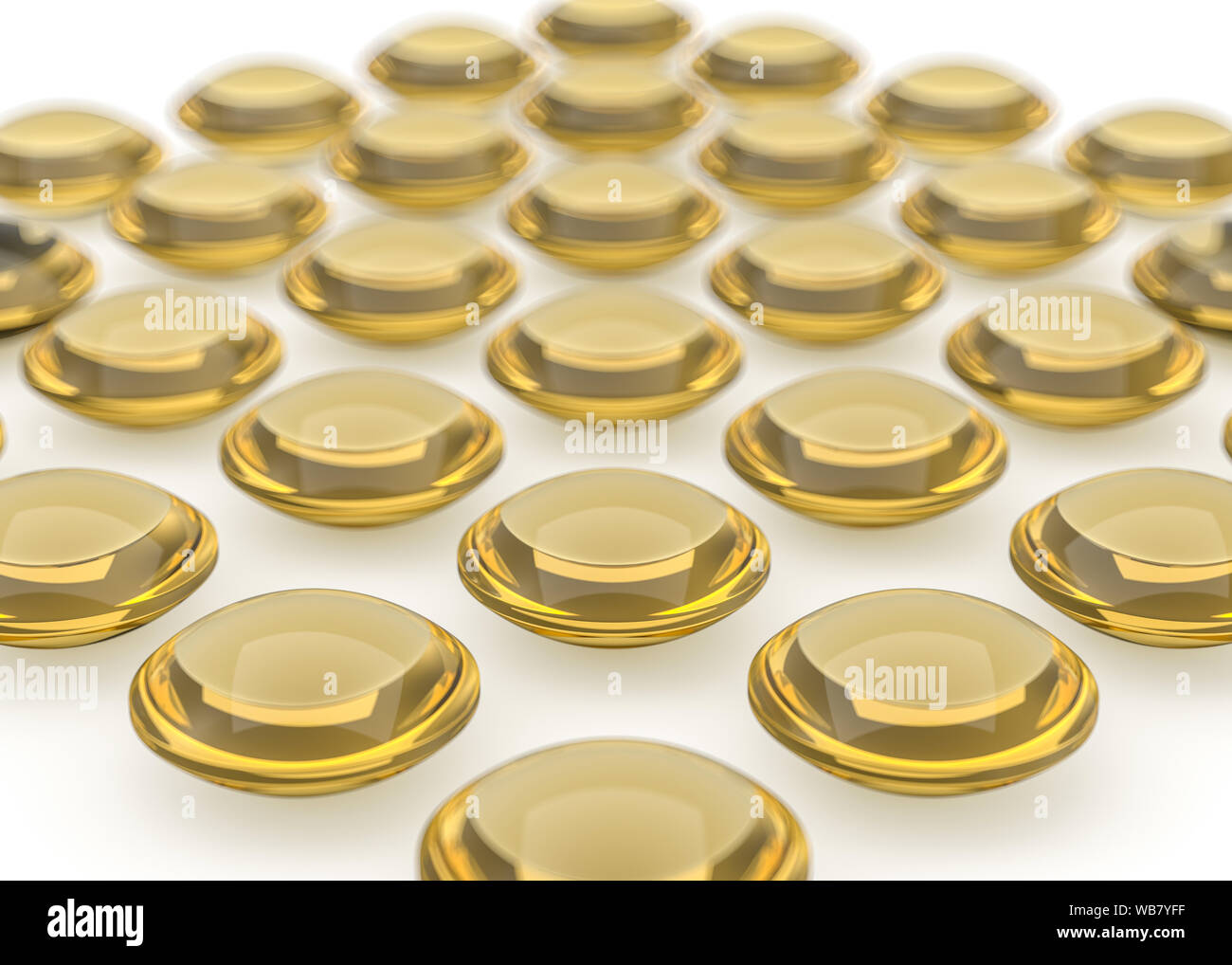 Glossy capsule llustration. Golden image with reflections and shadows. Cosmetic, pharmaceutical and medical concept. 3D rendering Stock Photo