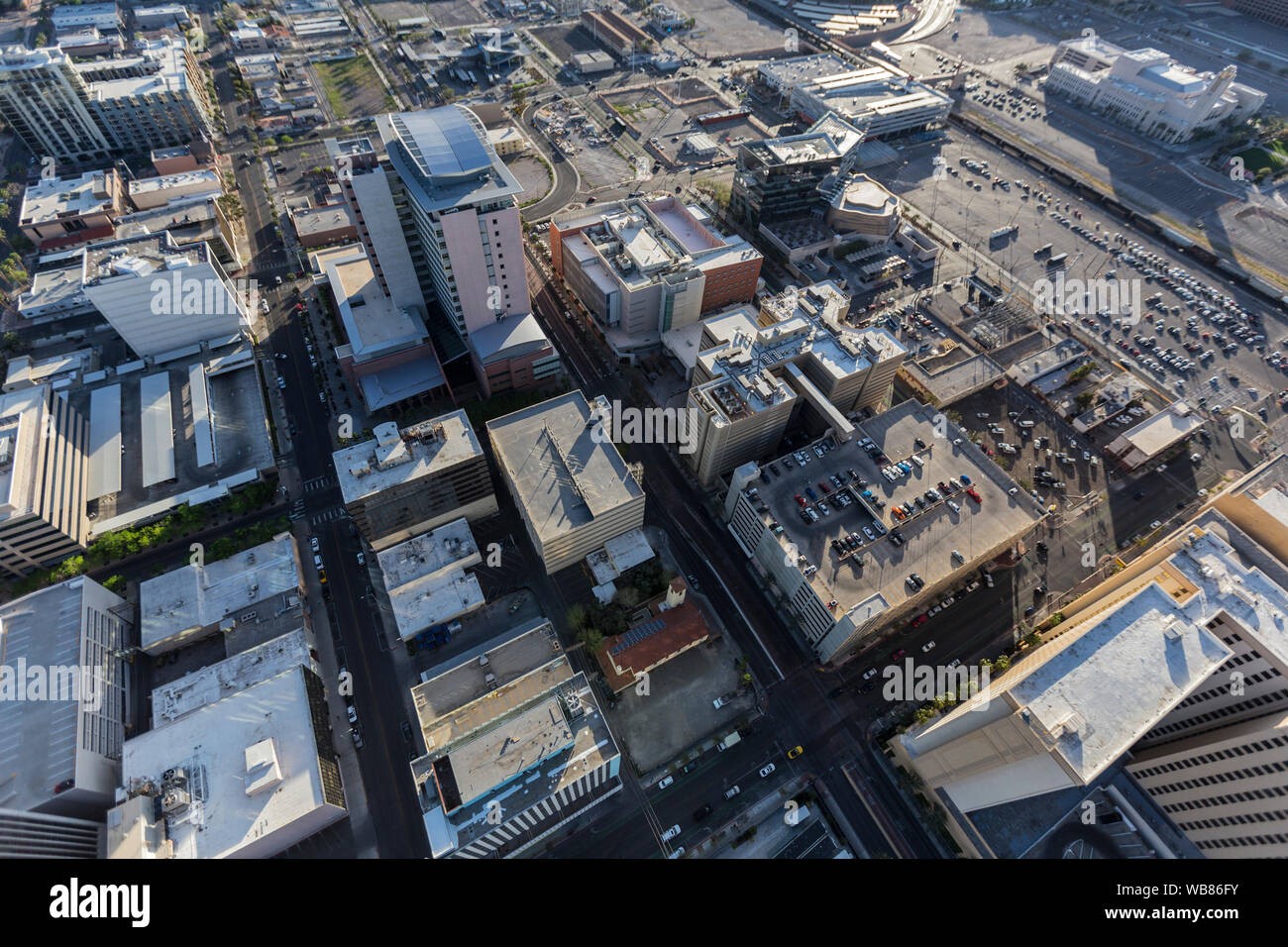 Aerial view of Clark County government buildings and South Casino Center Blvd in downtown Las Vegas, Nevada, USA. Stock Photo