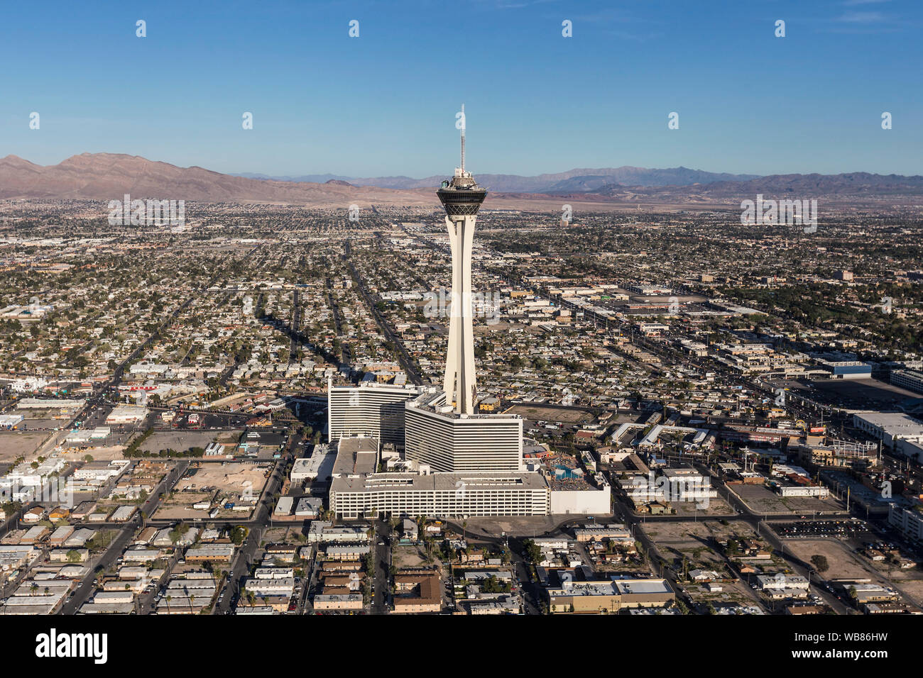 Aerial view of Stratosphere Casino Resort Tower on March 13, 2017 in Las Vegas, Nevada, USA. Stock Photo