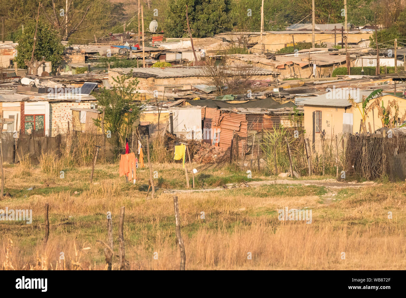 shanty town, tin shacks, black African township and area of poverty and hardship in Diepsloot outside Johannesburg,Gauteng, South Africa Stock Photo