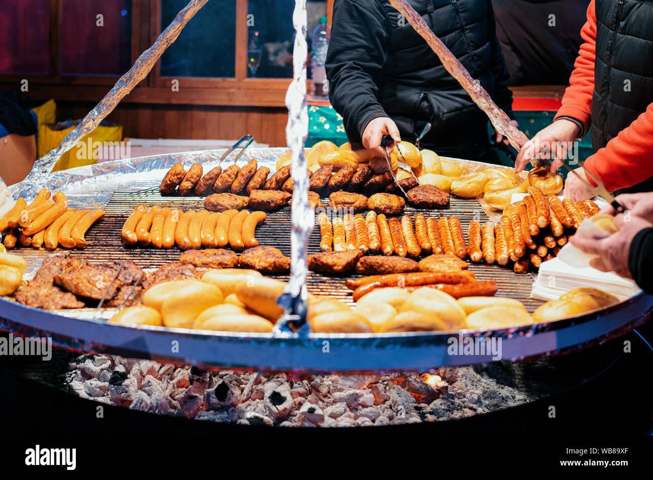 Blechschild XXL Essen Restaurant frische BBQ