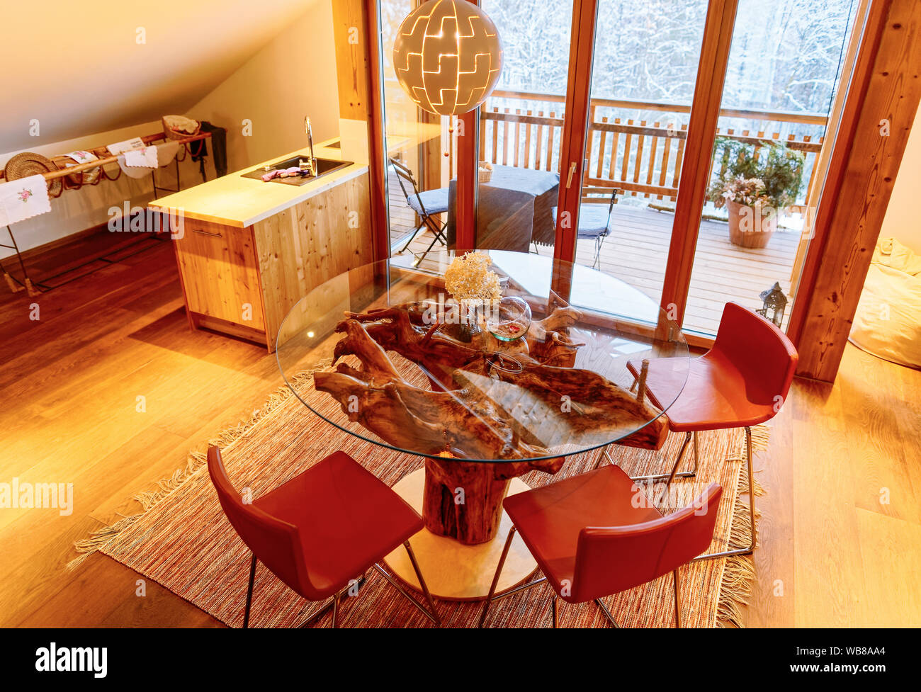 Interior Of Contemporary Living Room Design With Glass Table And Kitchen In Modern Apartment House Furniture For Home Decor Wood Wall And Floor St Stock Photo Alamy
