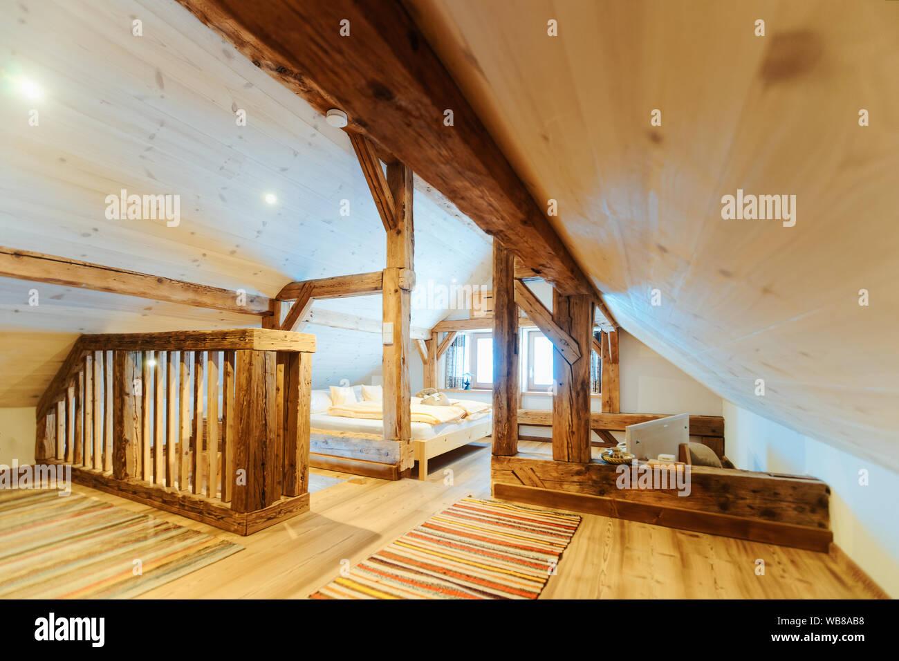 Interior Of Bedroom In Loft Modern Design Of Loft Wooden
