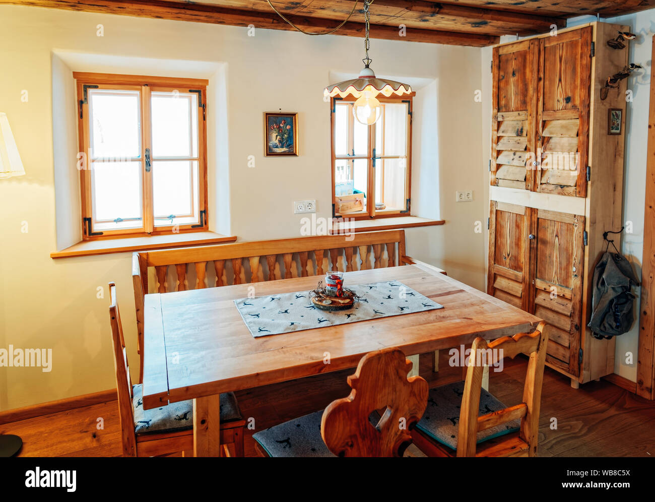 Modern Design Of Home Kitchen Interior Made Of Wood Materials Wooden Furniture In House Dining Room Brown Color Table And Chairs Window On Backgr Stock Photo Alamy