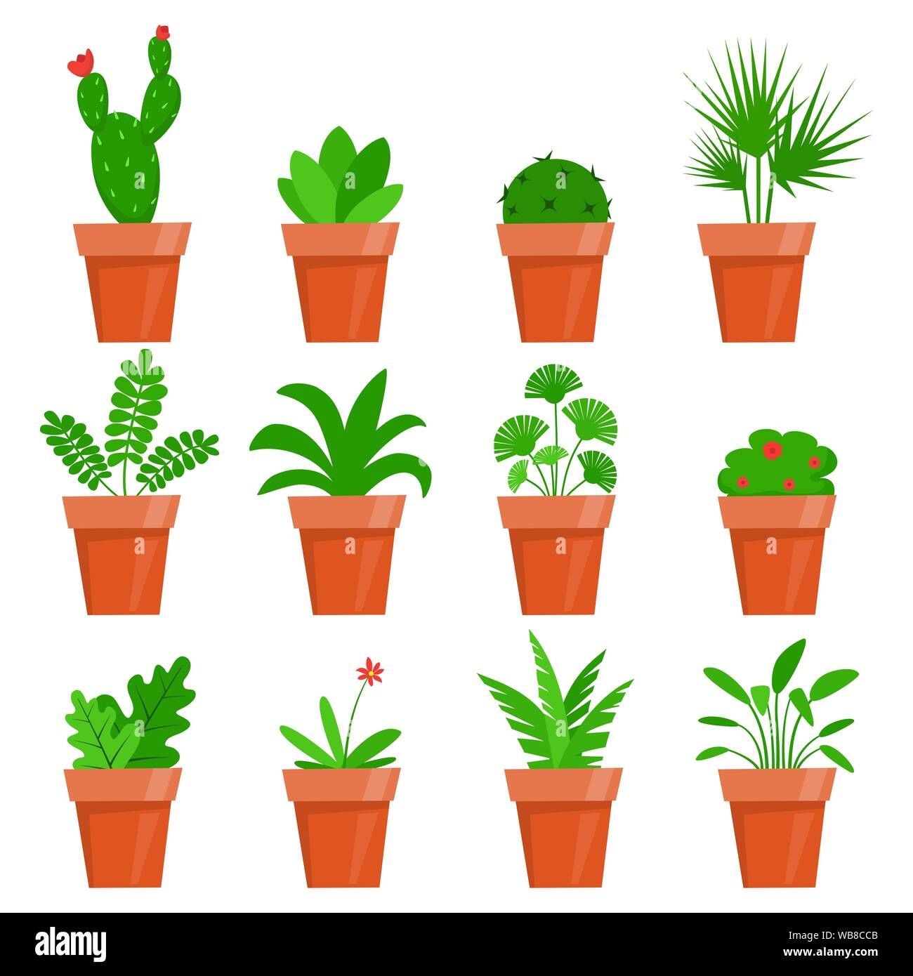 Potted Plants And Flowers Cute House Plants In Flat Style Vector Illustration Stock Vector Image Art Alamy