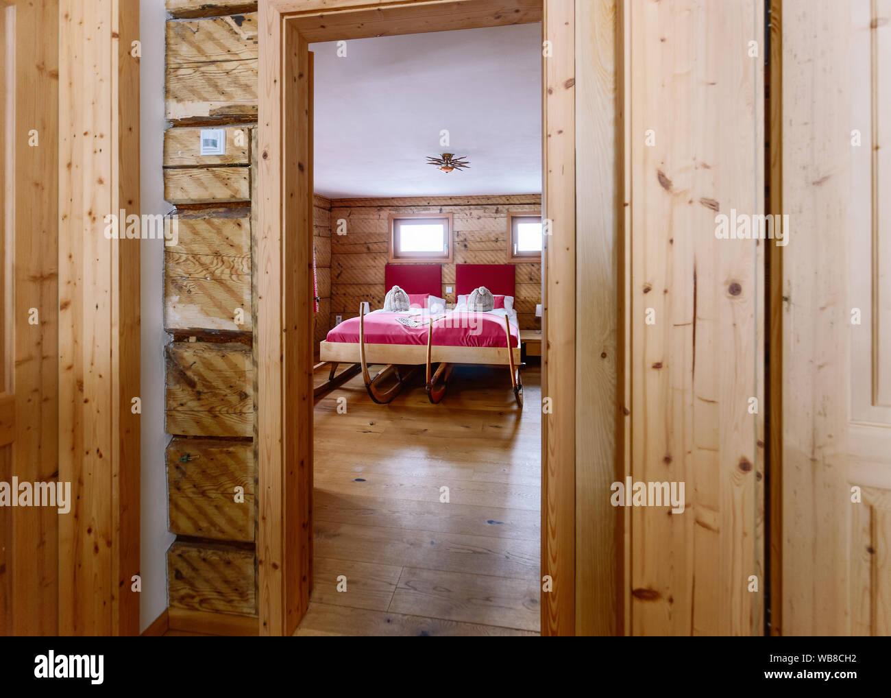 Interior At Bedroom Modern Design Of Pink Bed Wooden