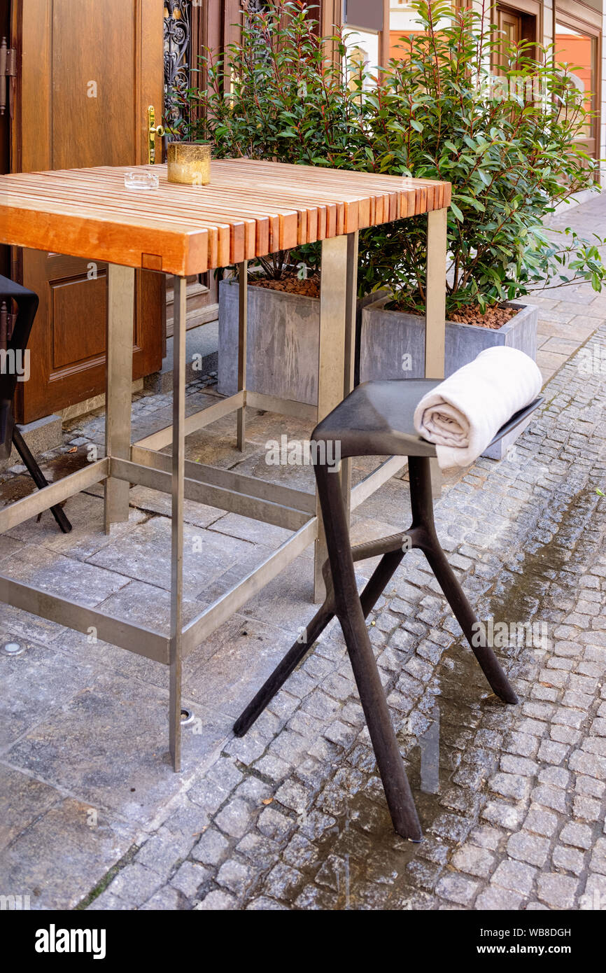 Table And Chair At Street Cafe Or Restaurant On Franziskanerplatz Square In Graz Cityscape In Old City Of Graz In Austria Styria In Europe Stock Photo Alamy