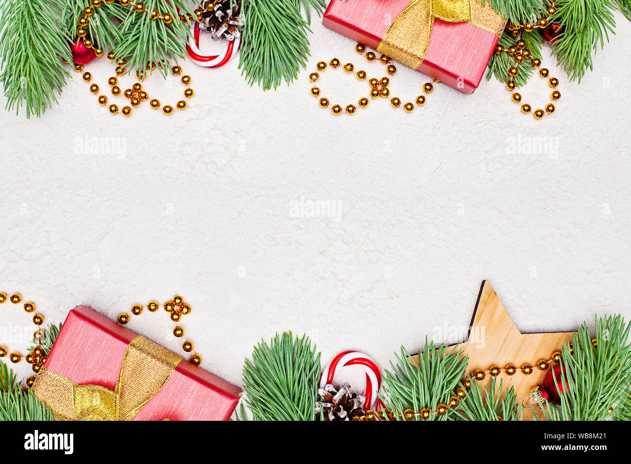 Christmas Card Border.Christmas Card Composition Border Gold Garland Green Xmas