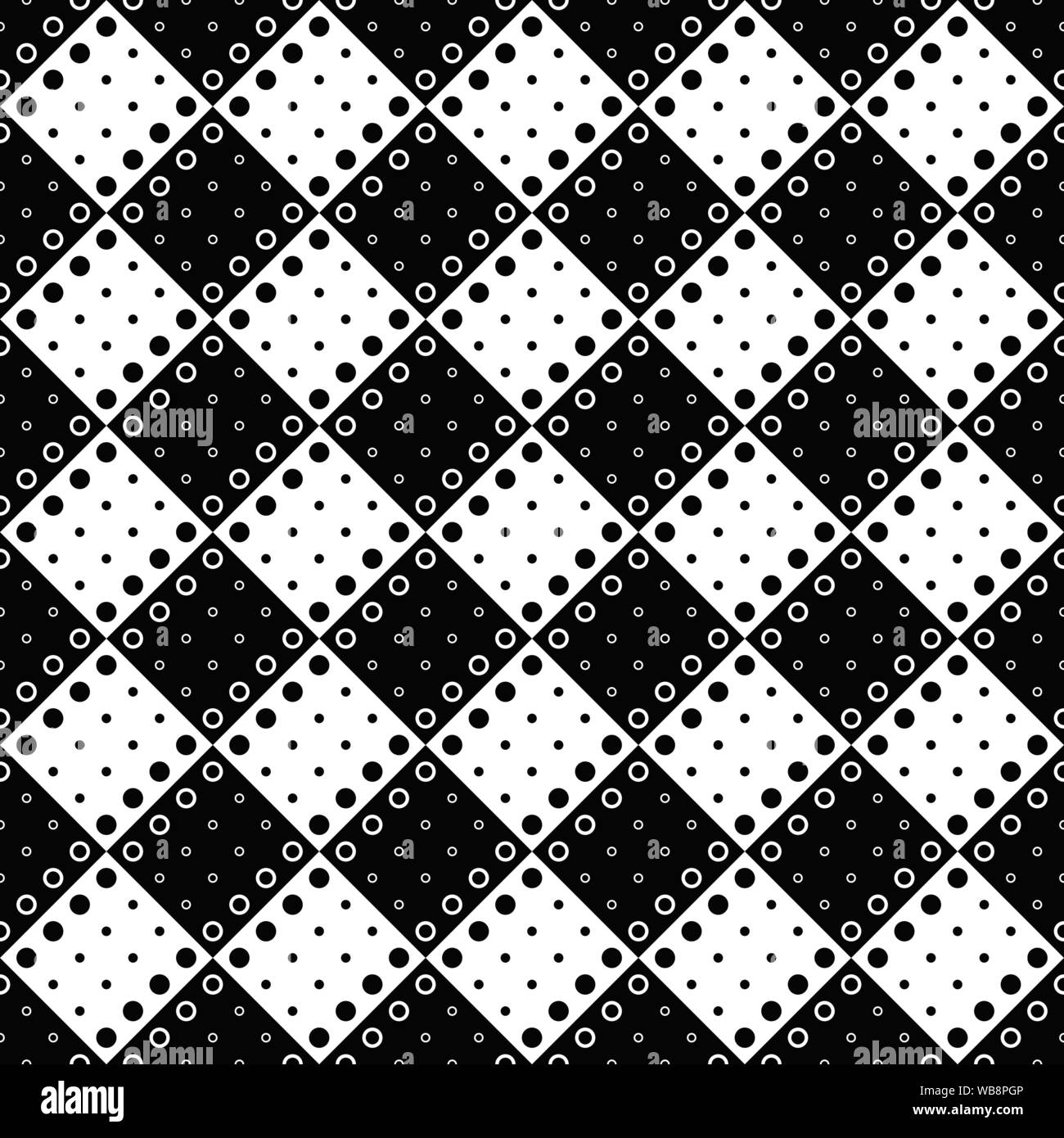 Circle pattern background - black white vector graphic from dots and circles Stock Vector