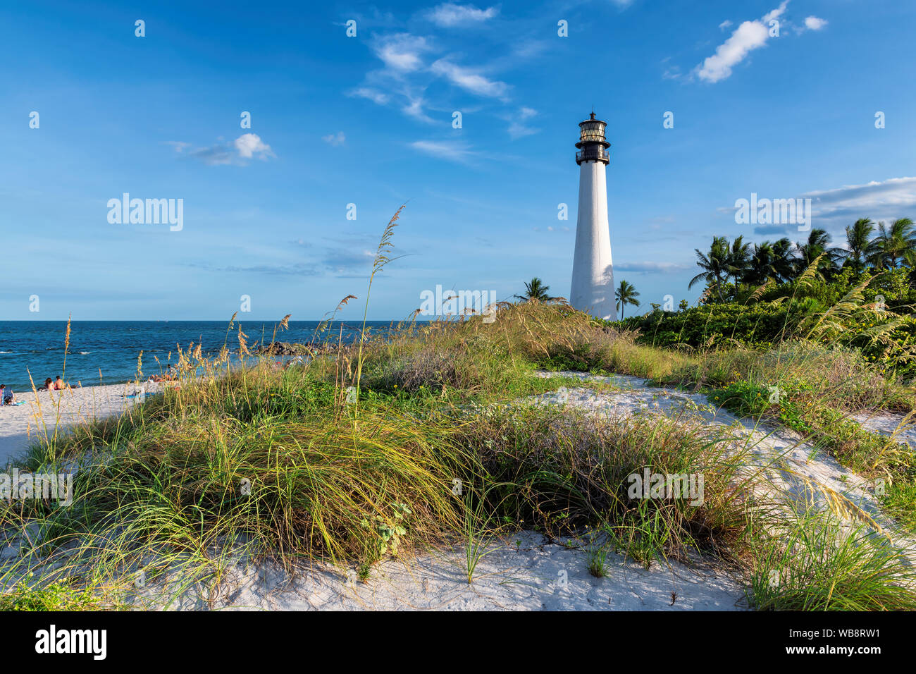 Cape Florida Lighthouse in sand dunes, Key Biscayne, Miami, Florida Stock Photo