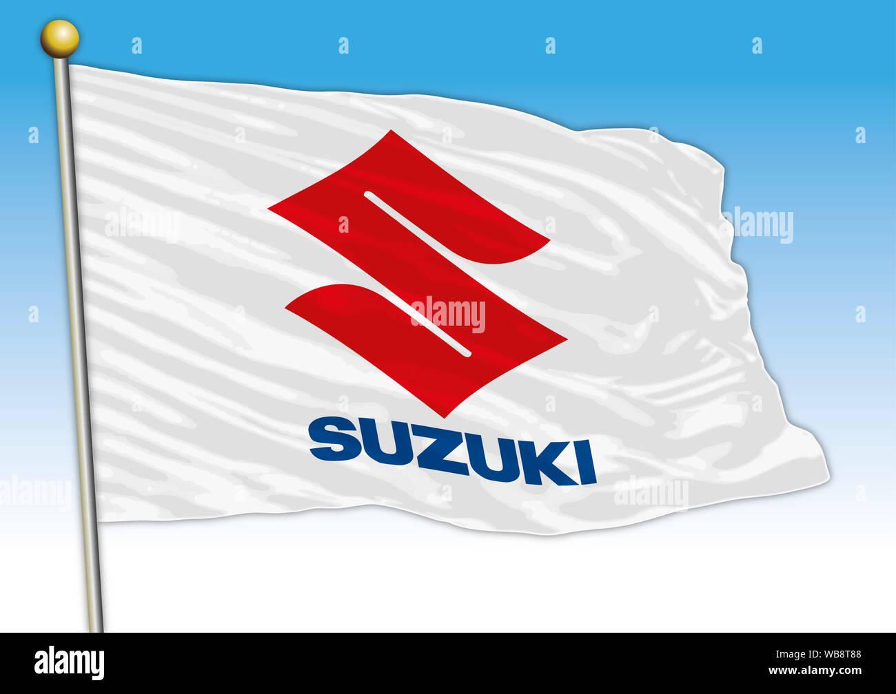Suzuki car industrial group, flag with logo, illustration Stock Photo