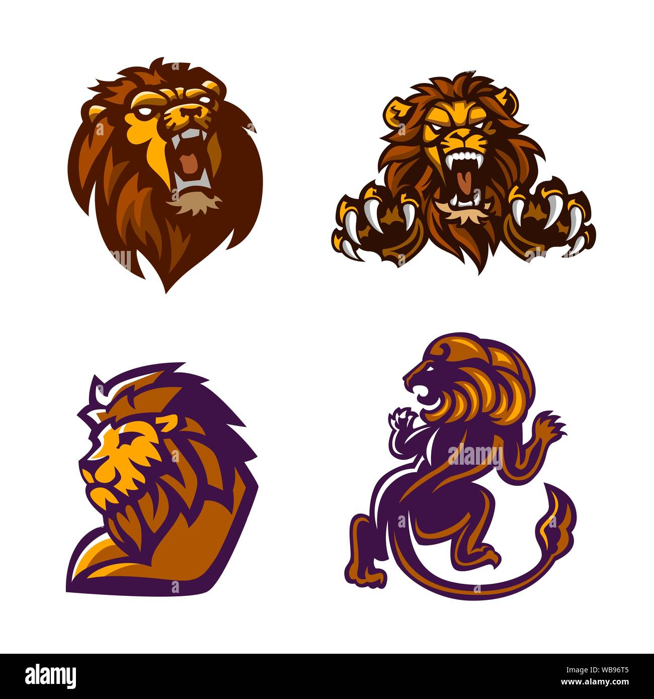 Lion Mascot Logo Set Vector Illustration Stock Vector Image Art Alamy Teaching tools posters banners signs stickers misc. https www alamy com lion mascot logo set vector illustration image265119685 html