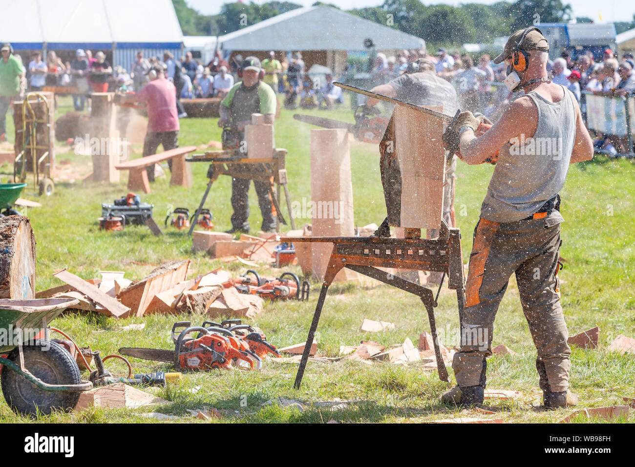 Chainsaw Competition Logs Stock Photos & Chainsaw