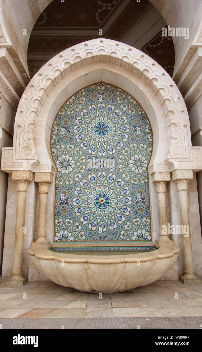 The most famous and impressive building in Casablanca - Mosque Hassan-II. Stock Photo