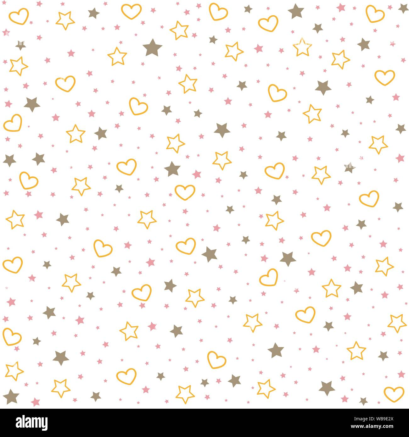 Seamless Background Of Hearts And Stars Baby Girl Shower Pattern Stock Vector Image Art Alamy