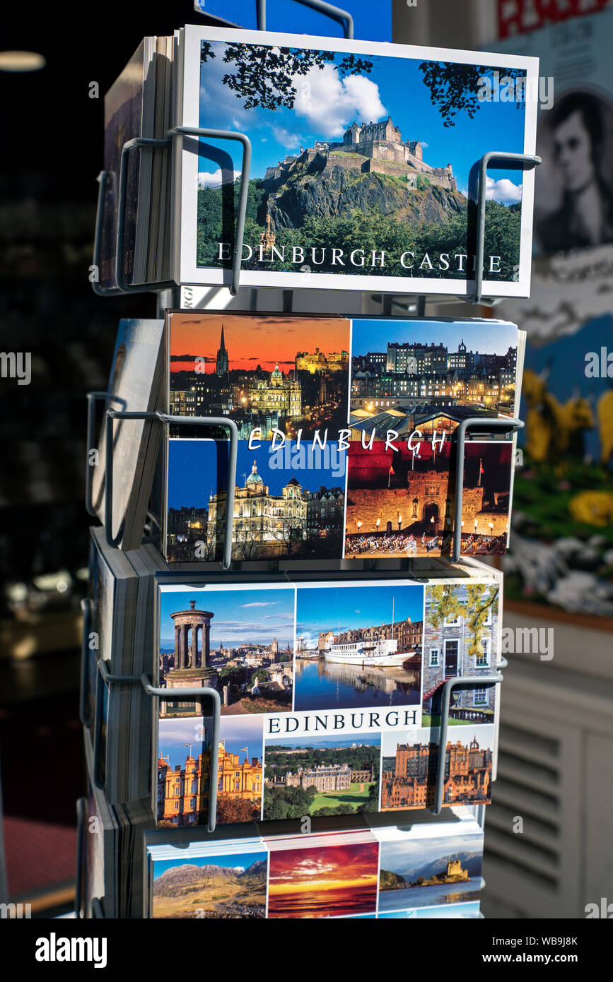 Postcards of Edinburgh in a postcard stand on the High Street in Edinburgh, Scotland, UK. Stock Photo