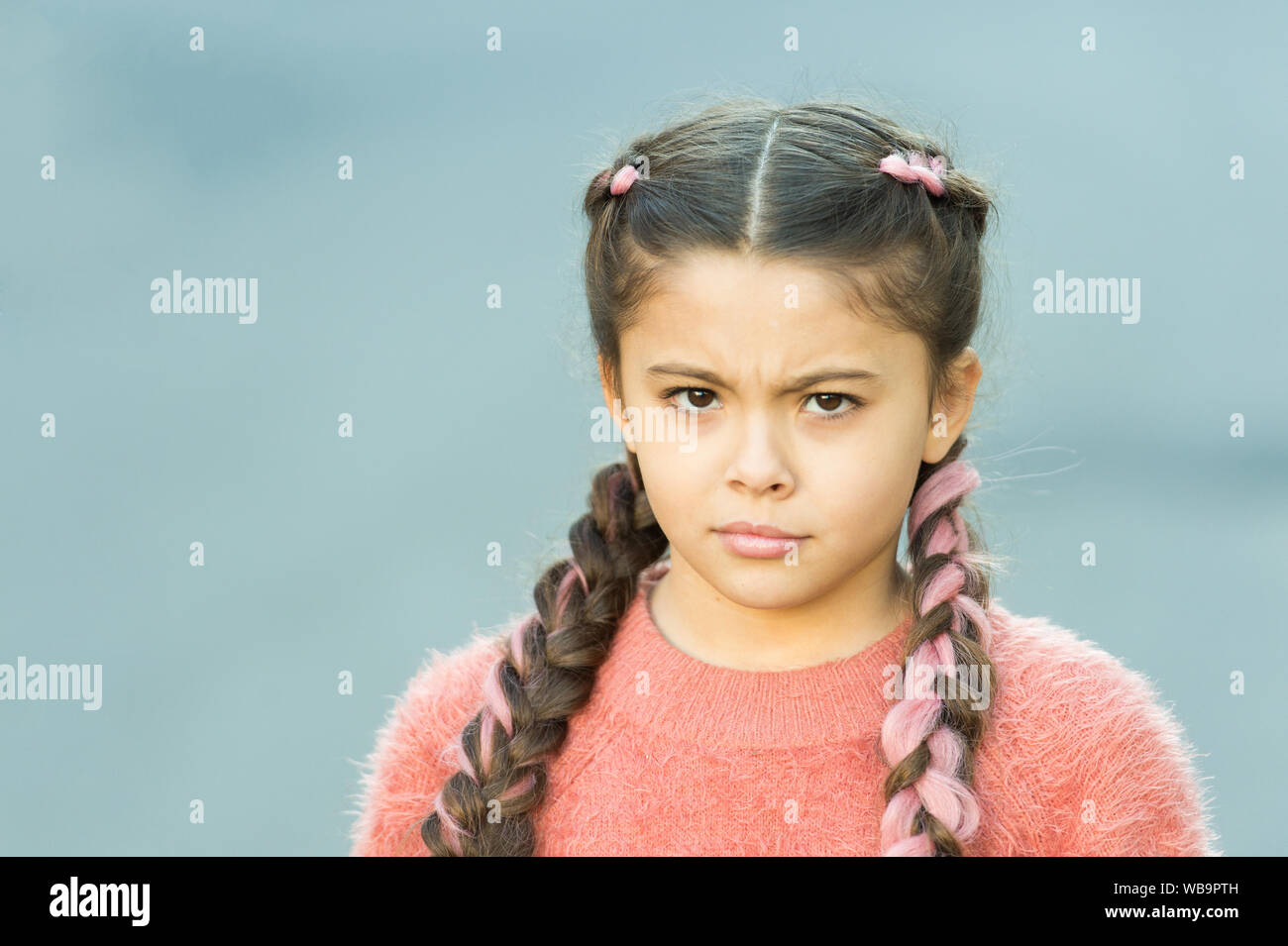Suspicious Look Girl With Braided Hair Style Pink Kanekalon