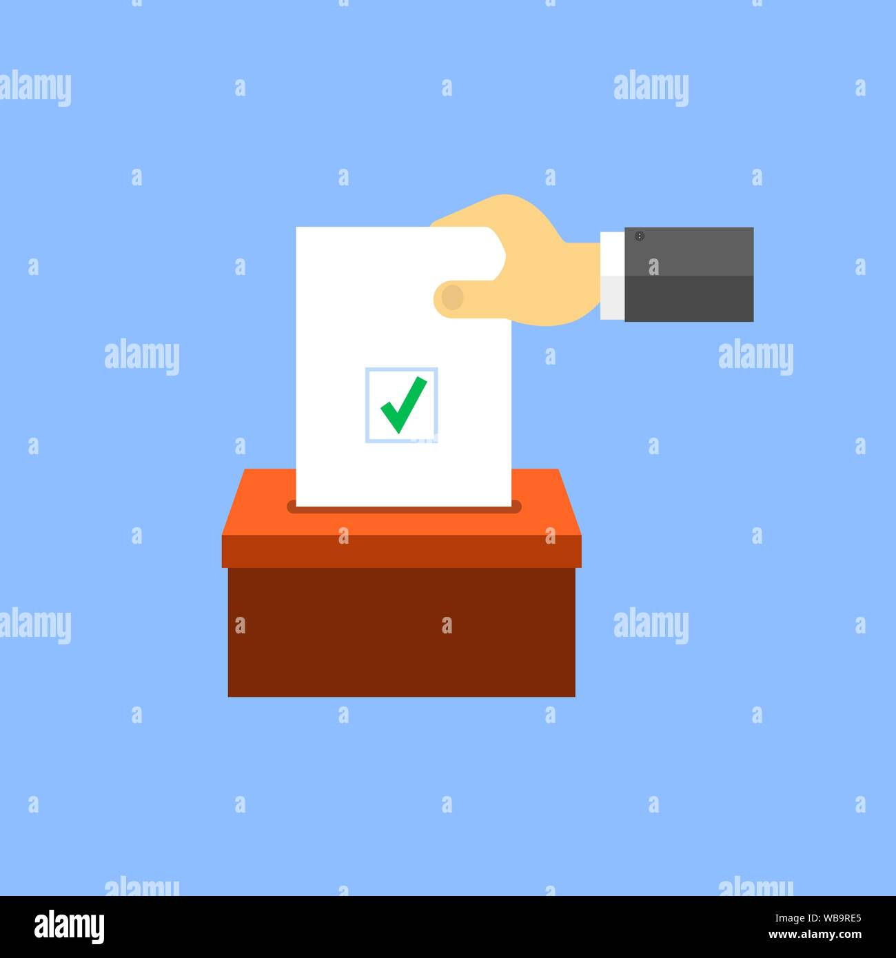 Hand puts voting paper in the ballot box. Vector illustration . Stock Vector