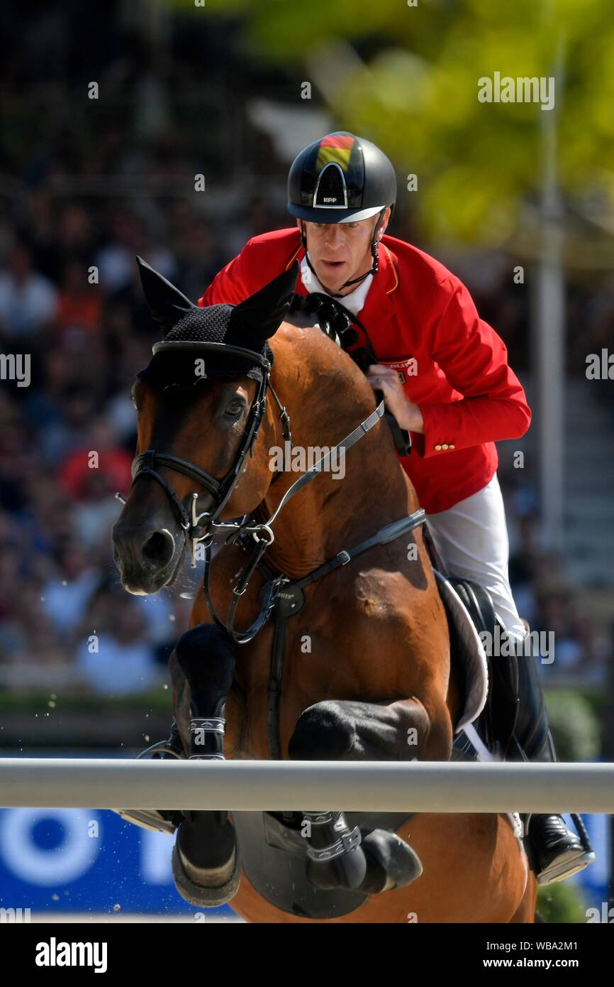Marcus Ehning GER with Comme Il Faut during the Longines FEI Jumping European Championship 2019 on August 25 2019 in Rotterdam, Netherlands. Credit: Sander Chamid/SCS/AFLO/Alamy Live News Stock Photo