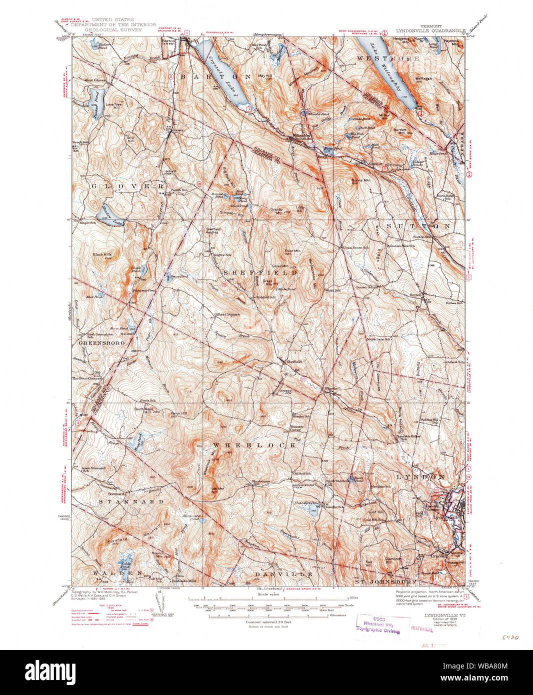 USGS Topo Map Vermont VT Lyndonville 338050 1939 62500