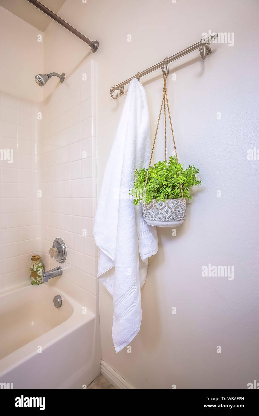 Home Bathroom Interior With Towel And Hanging Plant Beside The Built In Bathtub Stock Photo Alamy