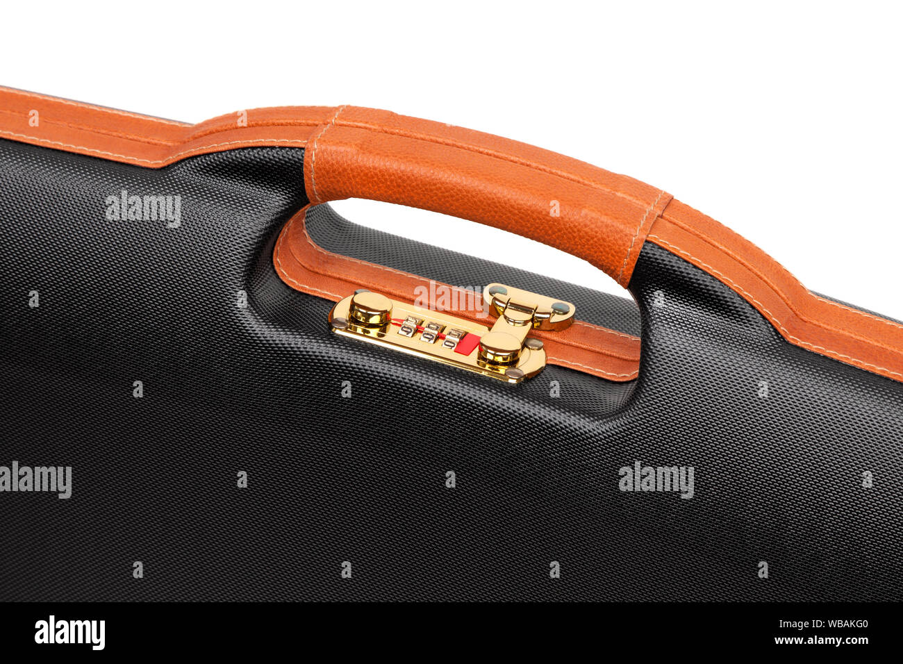 A modern luxury case for weapons with a combination lock. black plastic case for gun isolated on white back Stock Photo