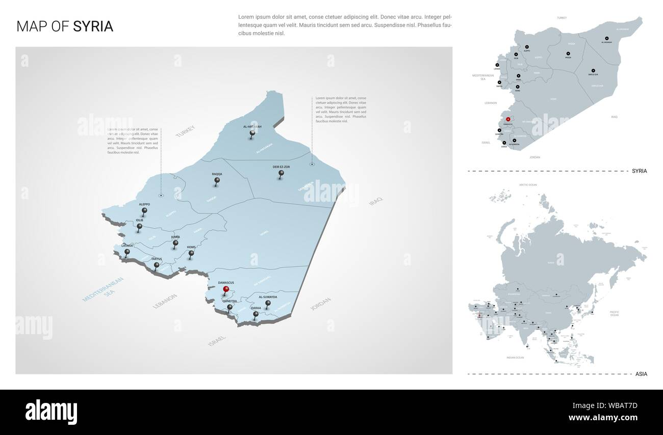 Vector set of Syria country. Isometric 3d map, Syria map ...