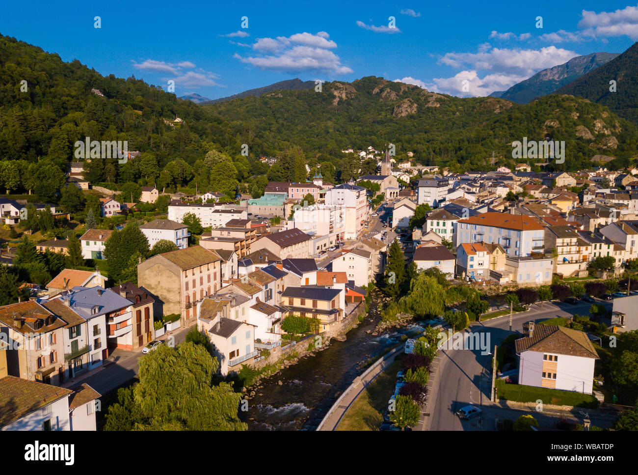 Aerial view of Ax-les-Thermes with buildings and The Lauze river in  France, Midi-Pyrenees Stock Photo