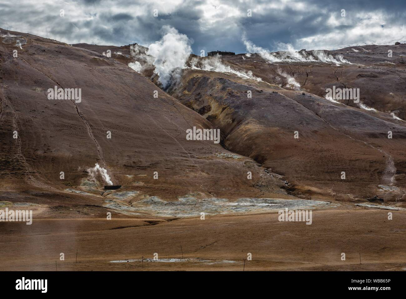 Namafjall mountain seen from Hverir boiling mud area also called Hverarond near Reykjahlid town in the north of Iceland. Stock Photo