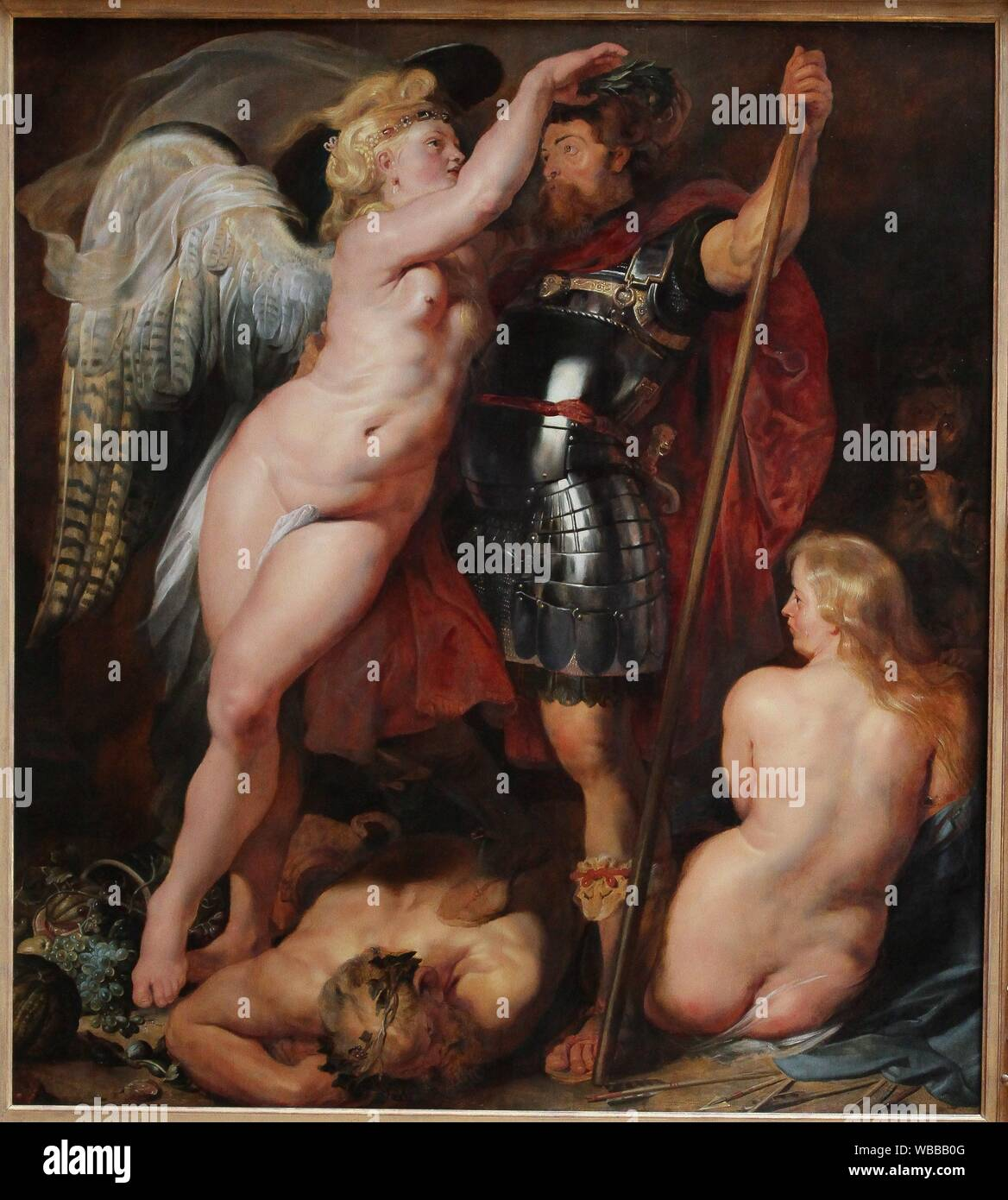 """The Crowning of the Virtuous Hero, 1613/14, by Peter Paul Rubens (1577-1640) Stock Photo"