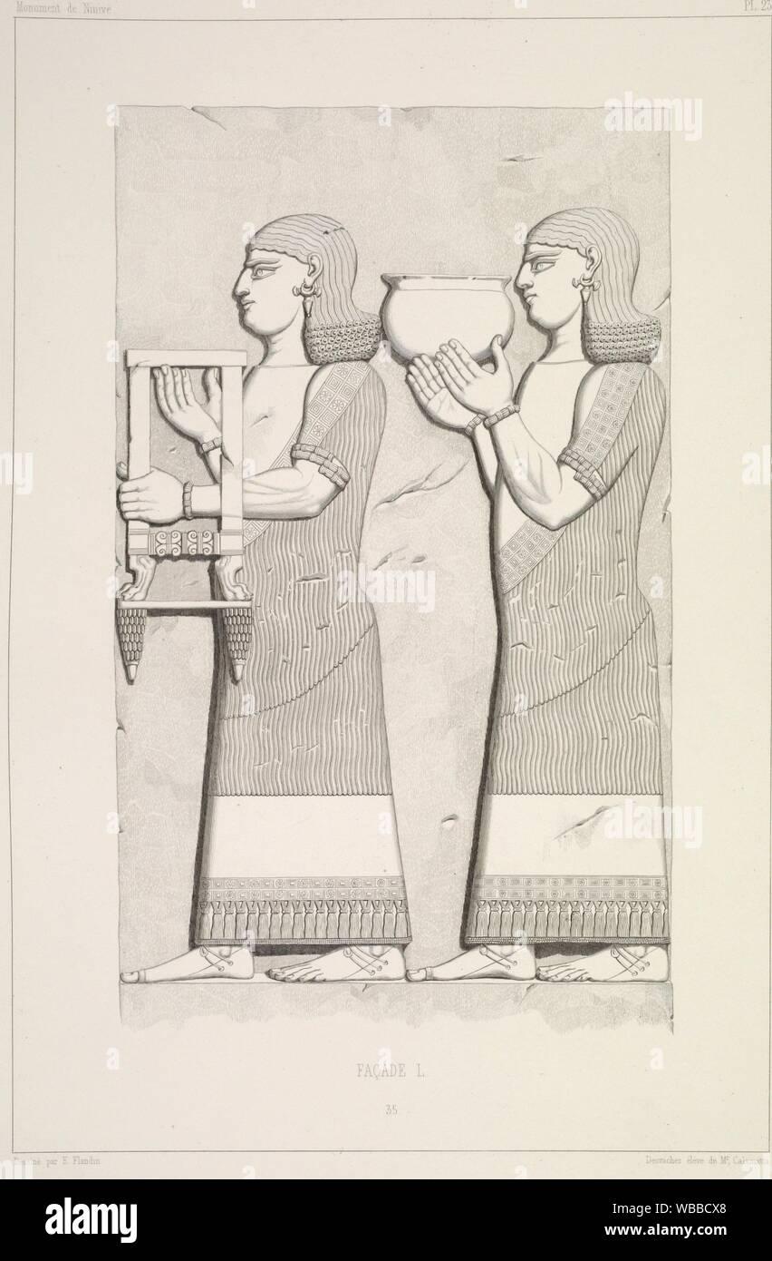 Façade L. Bas-relief 35. Additional title: Deux eunuques à vêtement ordinaire et à bracelets,. Le premier porte un tabouret ou plutôt une petite Stock Photo