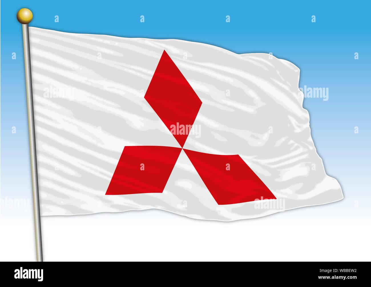 Mitsubishi car industrial group, flag with logo, illustration Stock Photo