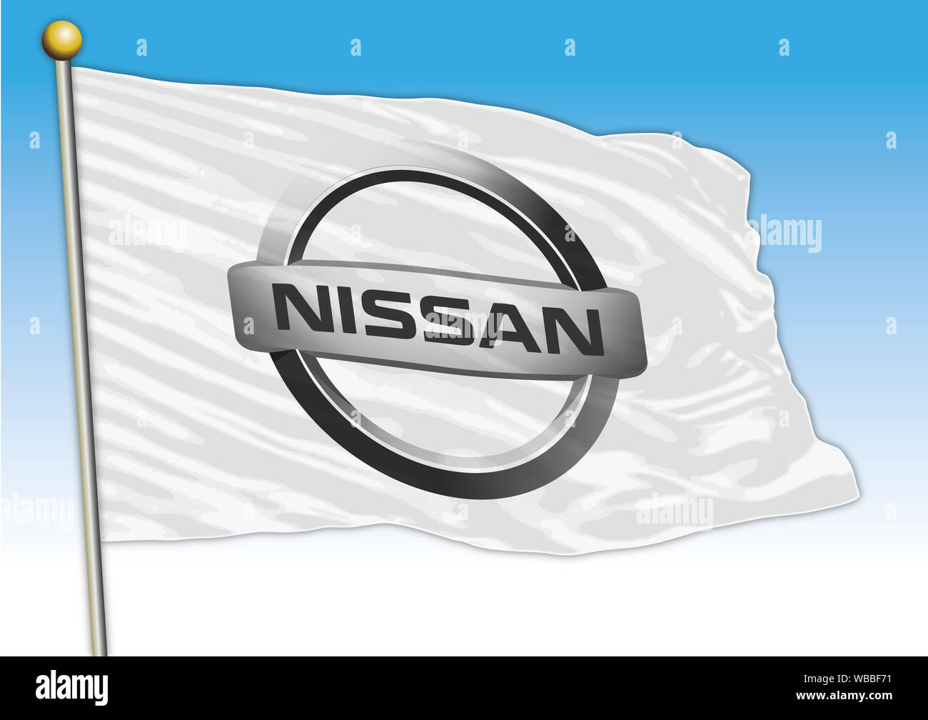 Nissan car industrial group, flag with logo, illustration Stock Photo
