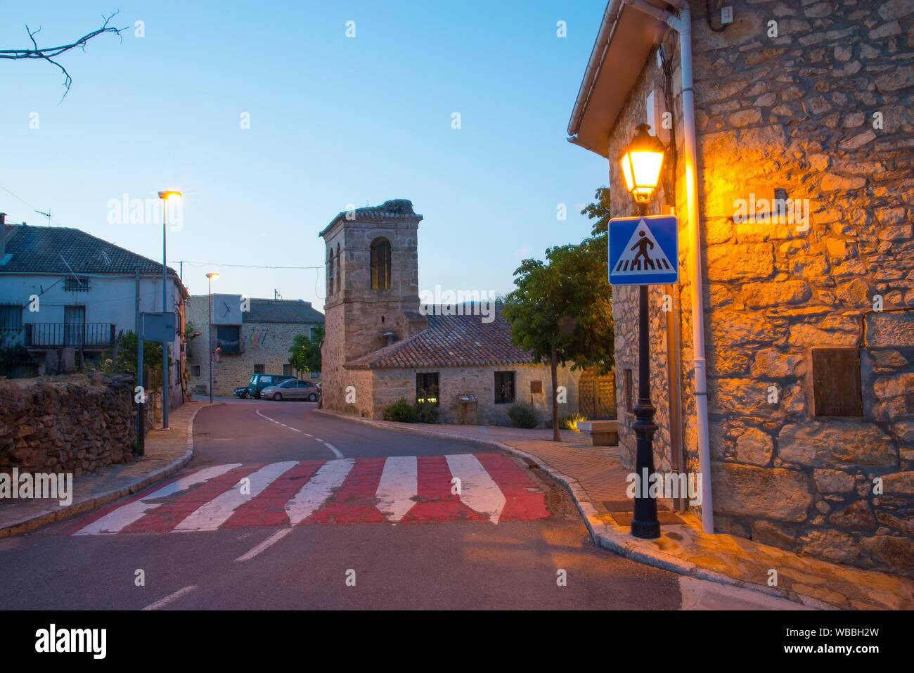 Street and church, night view. Piñuecar, Madrid province, Spain. Stock Photo