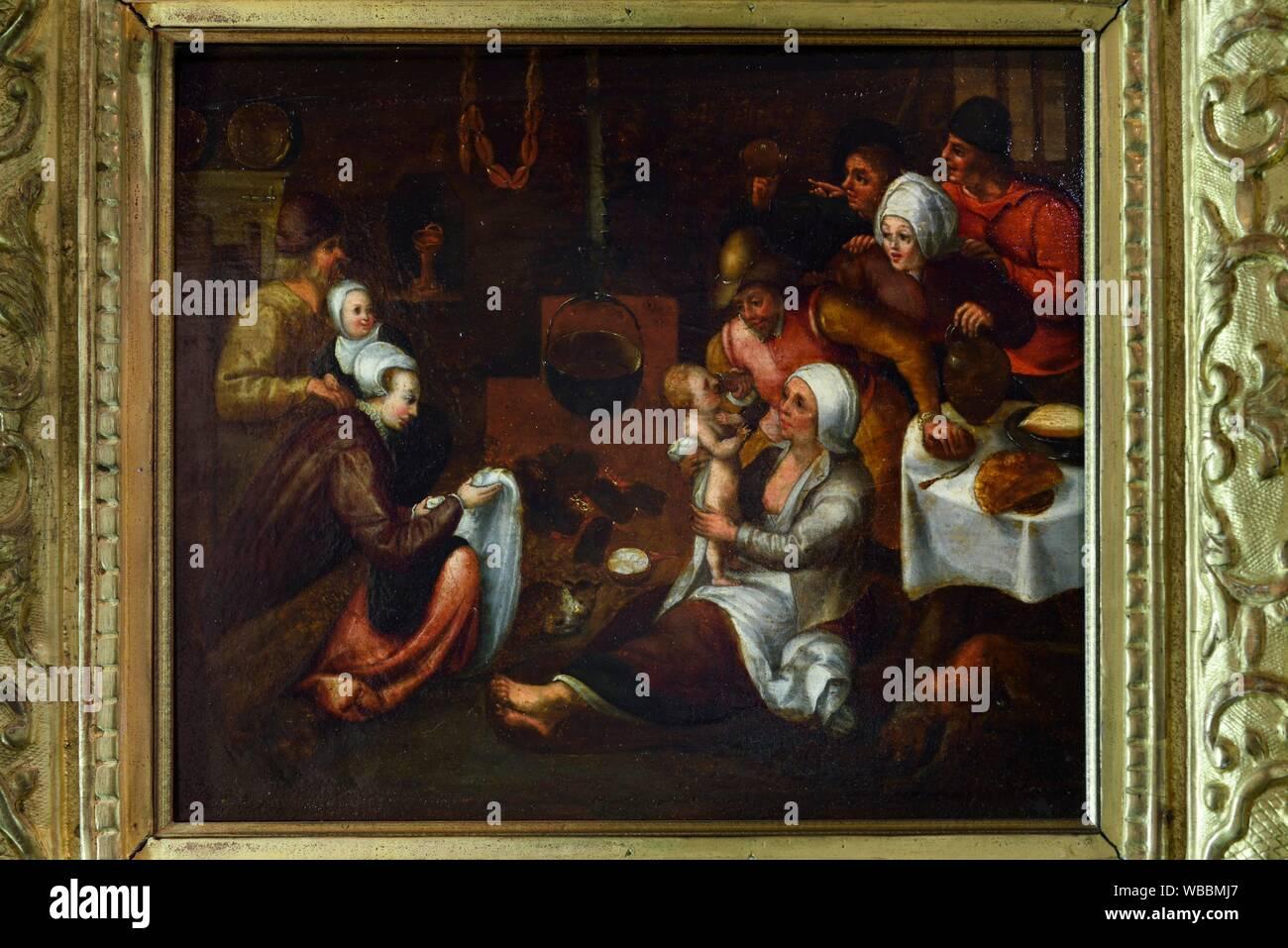 """""""""""""""""""""""La Visite a la nourrice"""""""" tableau attribue a Marten I Van Cleve (1527-1581), Exposition """"""""Enfants de la Renaissance"""""""", Chateau Royal de Blois, Stock Photo"""
